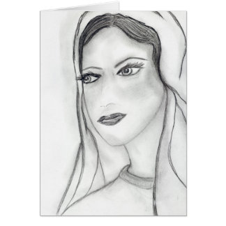 Solemn Mary Greeting Card
