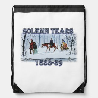Solemn Tears depicting the Cherokee Trail of Tears Drawstring Bag