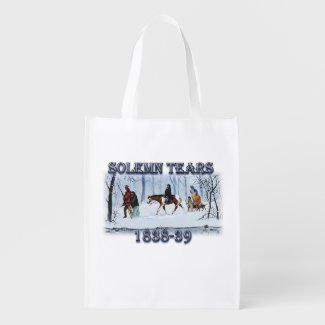 Solemn Tears depicting the Cherokee Trail of Tears Grocery Bag