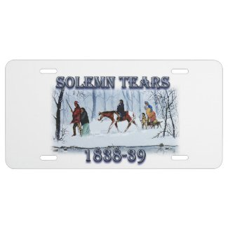 Solemn Tears depicting the Cherokee Trail of Tears License Plate