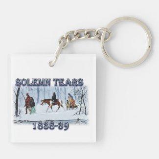 Solemn Tears depicts the Cherokee Trail of Tears K Keychain