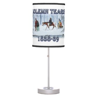 Solemn Tears depicts the Cherokee Trail of Tears Table Lamp