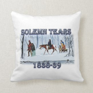 Solemn Tears depicts the Cherokee Trail of Tears Throw Pillow