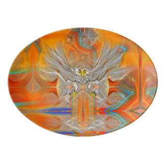 Solemnly Eagle Upswing Towards Rising Sun Platter