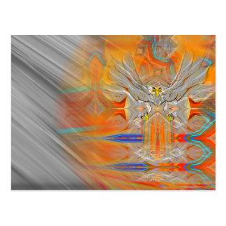 Solemnly Eagle Upswing Towards Rising Sun Postcard