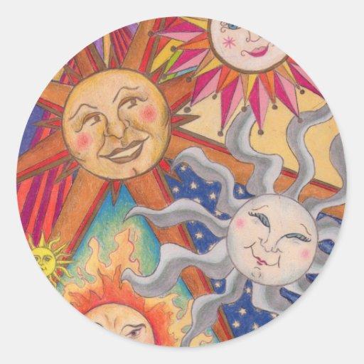 Soles felices pegatinas redondas