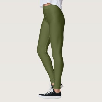 Solid Army Green Leggings