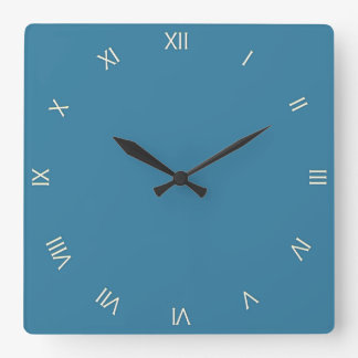 Solid Astral Blue Roman Numerals Square Wall Clock