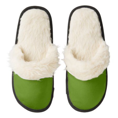 Solid Avocado Green Pair Of Fuzzy Slippers