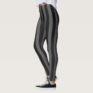 Solid Black and Charcoal Stripes Decor on Leggings