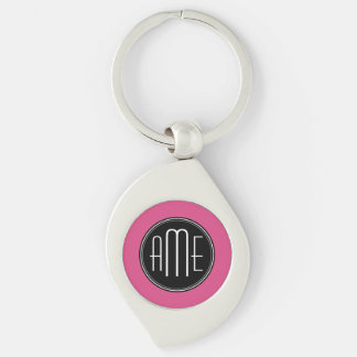 Solid Black and Hot Pink with Monogram Silver-Colored Swirl Metal Keychain