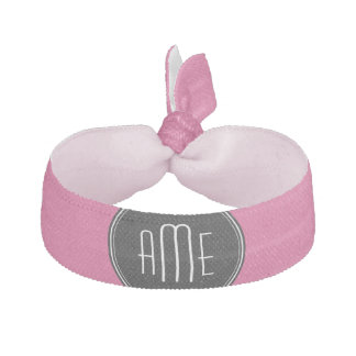 Solid Black and Hot Pink with Monogram Hair Ties