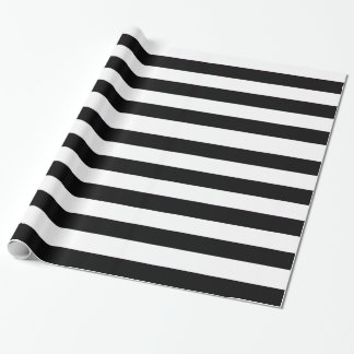 Solid black and white horizontal stripes pattern wrapping paper