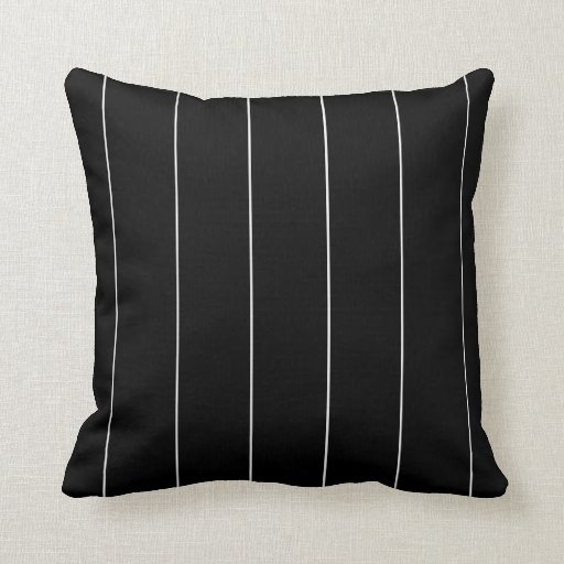 Solid Black Throw Pillows : Solid Black and White Pinstripes Throw Pillow Zazzle