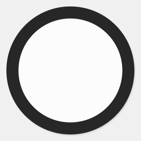solid black border blank classic round sticker zazzle com
