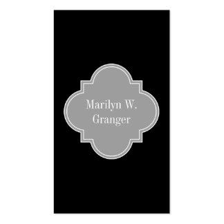 Solid Black, Dark Gray Ribbon Name Monogram Business Card