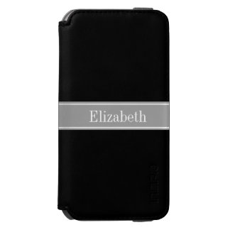 Solid Black, Dark Gray Ribbon Name Monogram iPhone 6/6s Wallet Case