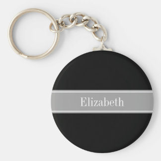 Solid Black, Dark Gray Ribbon Name Monogram Key Chain