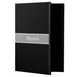 Solid Black, Dark Gray Ribbon Name Monogram Powis iPad Air 2 Case