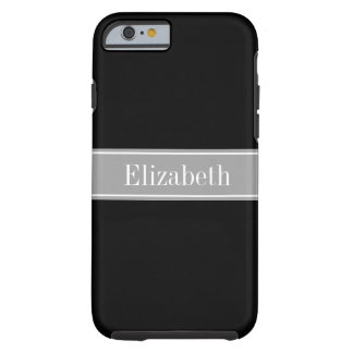 Solid Black, Dark Gray Ribbon Name Monogram Tough iPhone 6 Case