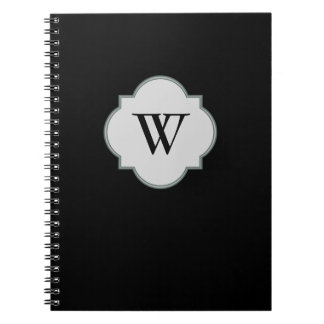 Solid Black Monogram template Notebook