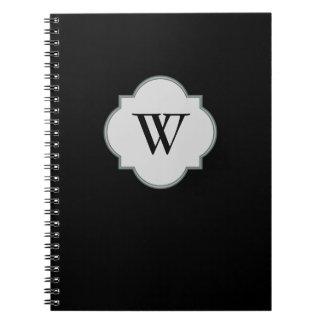 Solid Black Monogram template Spiral Notebook