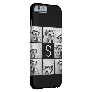 Solid Black Photo Collage Custom Monogram Barely There iPhone 6 Case