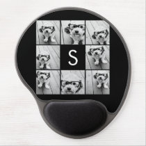 Solid Black Photo Collage Custom Monogram Gel Mouse Pad