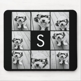 Solid Black Photo Collage Custom Monogram Mouse Pad