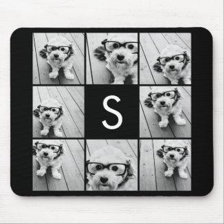 Solid Black Photo Collage Custom Monogram Mouse Pad