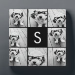 """Solid Black Photo Collage Custom Monogram Plaque<br><div class=""""desc"""">You can use Instagram photos for this design. Use 8 square photos to create a unique and personal gift. Or you can keep the hipster puppy and make a trendy keepsake. If you need to adjust the pictures,  click on the customize tool to make changes.</div>"""