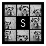 Solid Black Photo Collage Custom Monogram Poster
