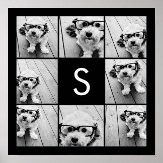 Solid Black Photo Collage Custom Monogram Poster