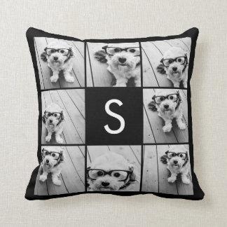 Solid Black Photo Collage Custom Monogram Throw Pillow