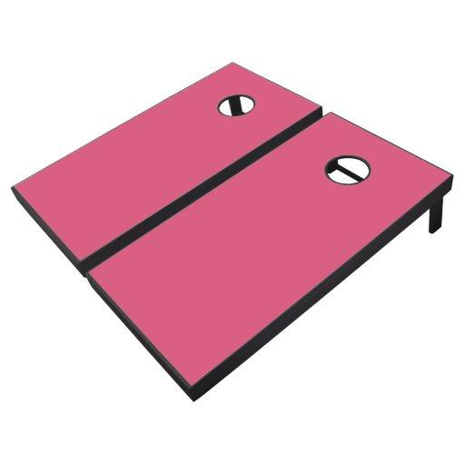 Solid Black Pink Color Bean Bag Toss Game Cornhole Set