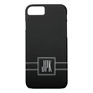 Solid Black with Triple Monogram iPhone 8/7 Case