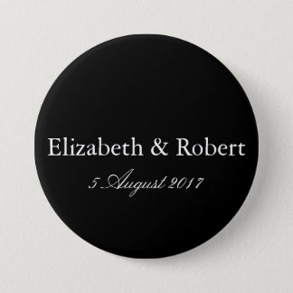 Solid Black with White Wedding Detail Button