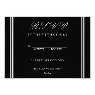 Solid Black with White Wedding Detail Card