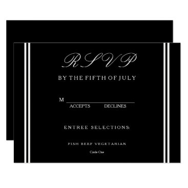 Beach Themed Solid Black with White Wedding Detail Card