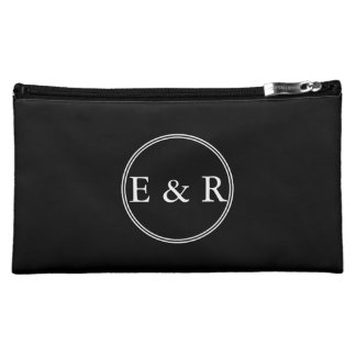 Solid Black with White Wedding Detail Makeup Bag