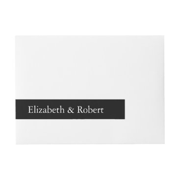 Beach Themed Solid Black with White Wedding Detail Wrap Around Address Label