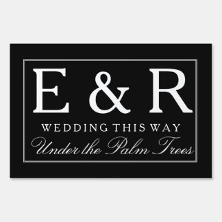 Solid Black with White Wedding Detail Yard Sign