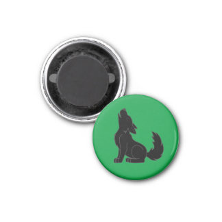 Solid Black Wolf Pup Howling 1 Inch Round Magnet