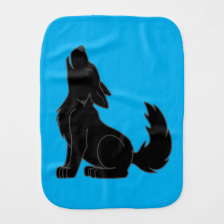 Solid Black Wolf Pup Howling Baby Burp Cloth