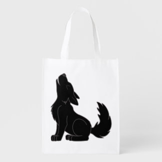 Solid Black Wolf Pup Howling Market Totes