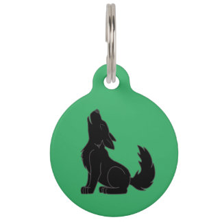 Solid Black Wolf Pup Howling Pet ID Tag