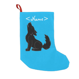 Solid Black Wolf Pup Howling Small Christmas Stocking