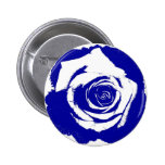 Solid Blue and White posterized rose bloom 2 Inch Round Button