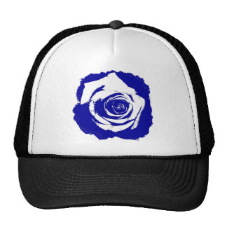 Solid Blue and White posterized rose bloom Mesh Hats