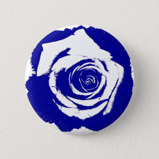 Solid Blue and White posterized rose bloom Pinback Button